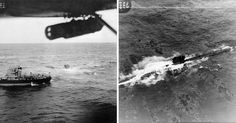 Left: The RAF Catalina taking a picture of the surrendering to a British Royal Navy ship on 27 August Right: A closer view of the crew of U 570 crammed into the conning tower as fuel is pumped overboard to maintain buoyancy German Submarines, History Online, Navy Ships, Royal Navy, Battleship, Historical Photos, World War Ii, Aircraft, Ww2 Weapons