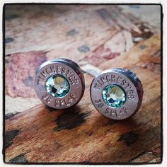 Bullet Stud Earrings- Light Green I really want bullet earrings Bullet Earrings, Bullet Jewelry, Cute Earrings, Jewelry Box, Jewelry Accessories, Jewelry Making, Jewlery, Ammo Jewelry, Diy Jewelry