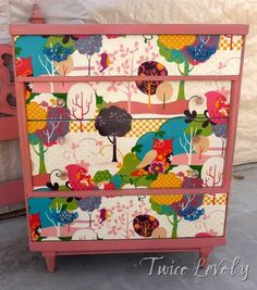 Fabric covered drawer fronts. ~ Mod Podge Rocks! from http://twicelovely.blogspot.com/2012/01/coral-headboard-and-fabric-front.html