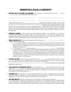 Printable Residential Free House Lease Agreement | Residential Lease  Agreement: Real Estate Legal Form  Free Tenant Agreement
