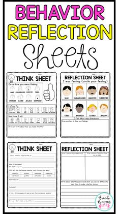 Behavior think and reflection sheets for classroom management and behavior interventions. These sheets are easy to use and implement into your classroom behavior plans and systems. Effective Classroom Management, Classroom Behavior Management, Behaviour Management, Classroom Behavior Plans, Student Behavior, Kindergarten Behavior, Social Behavior, Kindergarten Centers, Kids Behavior