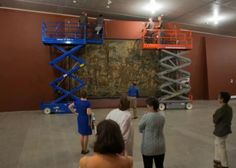 Renaissance tapestry by Pieter Coecke van Aelst being hung at the Metropolitan Museum of Art. See the video at the link!