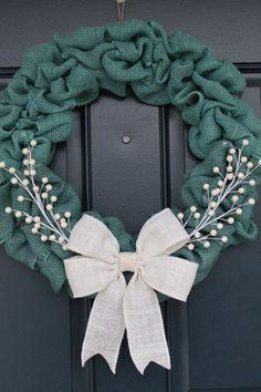 Latest Turquoise Christmas Decorating Ideas : Turquoise Blue Burlap Wreath by ColumbusCircle on Etsy Burlap Crafts, Wreath Crafts, Diy Wreath, Diy Crafts, Wreath Ideas, Tulle Wreath, Deco Mesh Wreaths, Door Wreaths, Burlap Wreaths