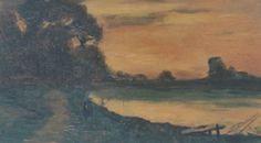 Ermanno Besozzi pittore 1933 Paesaggio olio su tavola cm. 28,5x19 arc. 925