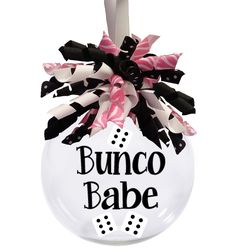 """Bunco Babe glass Christmas ornament is a 3"""" ornament with the Bunco Babe design """"floating"""" INSIDE the ornament. The outside is decorated with matching polka dots (not shown) and finished with a beauti"""