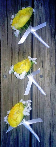 Yellow Ranunculus Bridal Bouquet Ranunculus by SilkFlowersByJean, $5