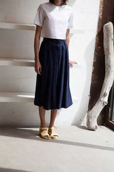 blue swing skirt and cutoff shirt for your capsule wardrobe – http://minimalism.co