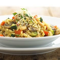 Risotto with Beans and Vegetables The perfect dinner recipe for those on a vegetarian diet or eating healthy. This low-fat recipe brings together creamy arborio rice, beans, mushrooms,vegetables, and Parmesan cheese.