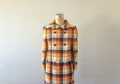 60s wool suit . 1960s plaid suit . jacket and skirt