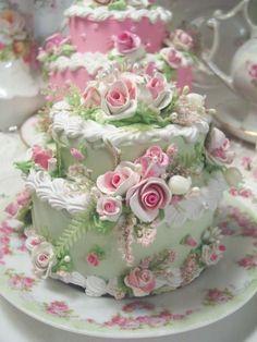 Beautiful fake cake by Rhonda's Rose Cottage Designs. Gorgeous Cakes, Pretty Cakes, Amazing Cakes, Cupcakes, Cupcake Cakes, Mini Cakes, Unique Cakes, Creative Cakes, Elegant Cakes