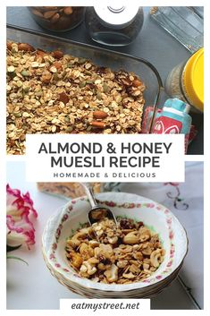This is a simple and really delicious recipe for home made almond & honey muesli. Oats, almonds, honey and coconut make for a nutritious breakfast. Whole Food Recipes, Bar Recipes, Healthy Recipes, Greek Recipes, Healthy Foods, Vegetarian Recipes, Healthy Eating, Homemade Granola Bars, Homemade Muesli