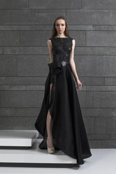 Style 56 I Black evening gown in ruffled Silk Organza and perforated Leather bodice and short skirt