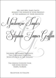 Custom Black and White Elegant Wedding Invitation Suite (Printable)