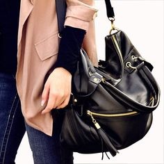 Fashion Tassels and Rivets Design Tote Bag For Women, BLACK in Tote Bags | DressLily.com