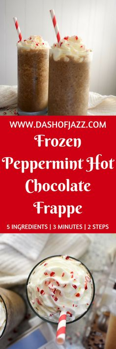 The frozen peppermint hot cocoa frappe is made with five ingredients and ready in three minutes for perfect homemade indulgence without a fancy coffee shop. Recipe by Dash of Jazz via @dashofjazzblog #mytoranifrappe #ad