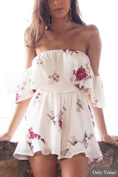Sweet Random Floral Print Frills Playsuit from mobile - US$21.95 -YOINS