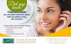 Want to learn more about how chemical peels can improve the look and feel of your skin? Contact us today at 504-777-3047. #Beauty #Skin  #DrLupo #NewOrleans