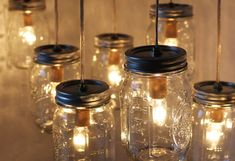 Canopy Mason Jar Chandelier Light - Upcycled BootsNGus Swag Lamp Design - Dining Room Table - Kitchen Island Hanging Lighting Fixture