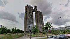 Западна капија Београда (Genex Tower) - 1977-80 by Mihajlo Mitrović - #architecture #googlestreetview #googlemaps #googlestreet #serbia #belgrade #brutalism #modernism