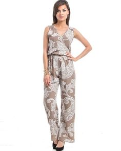 Sexy Light Brown & White Scroll Print Jumpsuit / Romper - New Style Printed Jumpsuit, Overall, Fast Fashion, Miami, Rompers, Brown, Shopping, Dresses, Women