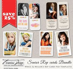 INSTANT DOWNLOAD Senior Rep Card Adobe Photoshop Template - Millers and WHCC Bundle