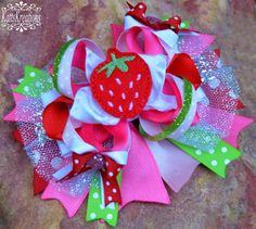 Strawberry Hairbow Hair Bow Strawberries Bow - pinned by pin4etsy.com