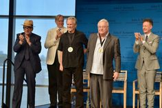 How many GRAMMY winners can you fit in one photo? Elvis Costello, T Bone Burnett and Lyle Lovett cheer on their friends Kris Kristofferson and Randy Newman — who were both honored with the PEN New England Song Lyrics Award for Literary Excellence — at a ceremony on June 2 in Boston