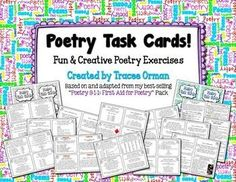 Poetry Task Cards to Practice Common Core Writing & Language Skills - 44 total cards - Great for bell-ringers! Teaching Poetry, Writing Poetry, Teaching Writing, Kindergarten Writing, Literacy, Teaching Activities, Teaching Ideas, Common Core Writing, Middle School English
