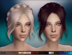 Sims 4 Hairs ~ The Sims Resource: Slowly hairstyle by Alesso All Hairstyles, Braided Hairstyles, Female Hairstyles, Braided Updo, Updo Hairstyle, Wedding Hairstyles, Space Buns Hair, Slimming World, The Sims 4 Cabelos
