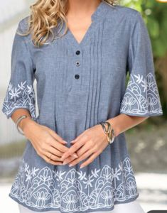 Shop split neck print Tops online,Tops with cheap wholesale price,shipping to worldwide Trendy Tops For Women, Blouses For Women, Casual Tops, Half Sleeves, Blouse Designs, Shirt Blouses, Tunic Tops, Fashion Outfits, Fashion Skirts