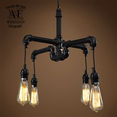 Iron pipe chandelier 4 arms or 6 arms 8 Arms is available contact us.   ITEM DETAILS ➤ Black pipe ➤ Black plastic sockets. ➤ Black wire ➤ Bulbs Included ➤ 60 watts max  FITTING: 4 or 6 sockets E27 screw on. MATERIAL: Metal WEIGHT : 4kg  Dimensions 4 arms---50cm L x 40cm H 6 arms---50cm L x 47cm H  Ceiling bracket, canopy or chains not included. If you need a hook installed for a chain contact us.  All wired one single wire coming out. Pipe and sockets and wires can differ from picture in…