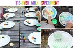Backyard Science Lab - Tie-dyed magic colored milk experiment with kids homeschool co-op
