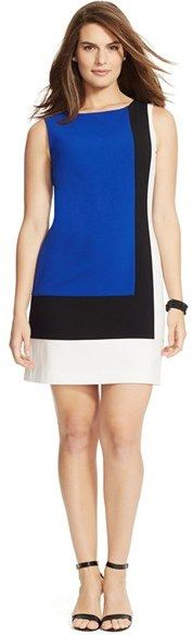 Lauren Ralph Lauren Colorblock Sleeveless Shift Dress (Plus Size)