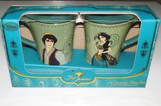 The Disney Store Mug Set NEW Art of Jasmine ALADDIN 2 Mugs GOLD RIMMED NIB Box #Disney #Aladdin NEW IN THE BOX 2 piece mug set by THE DISNEY STORE. Included are 2 mugs featuring Aladdin and Jasmine that are rimmed in real gold! They both feature a tall elliptical design and come in an elegant gift box #Jasmine #PrincessJasmine The Art of Jasmine NEW IN THE BOX 2 piece mug set by THE DISNEY STORE. Included are 2 mugs featuring Aladdin and Jasmine that are rimmed in real gold