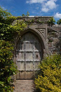 Old Gothic garden door, Lanhydrock House, Cornwall, England. Looks like the door to a secret garden.
