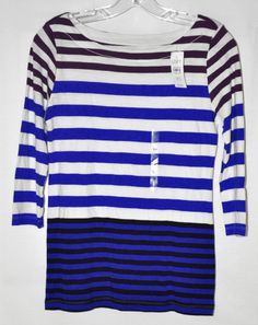 Ann Taylor Loft Striped Knit Top 3/4 Sleeve White, Blue, Purple Sz XS NWT