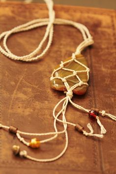 Boho Pendant Polished Agate in net bag on by HammeredandFired