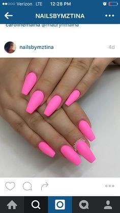 Instagram| matte hot pink nails