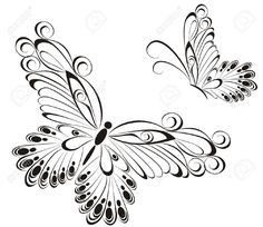 Vector Of Black And White Butterflies Royalty Free Cliparts ...