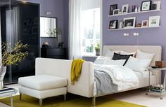 purple, white, olive green and black bedroom colors