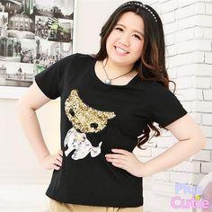 Plus Size K-fashion Leisure Paillette Fox Short-sleeve T-shirt Free Shipping SP140856