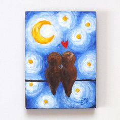 Art for your sweetheart <3    Romantic Painting LOVEBIRDS On A WIRE 5x7 Canvas Art by nJoyArt