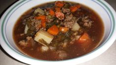 Hamburger Soup - 1lb ground hamburger (browned & drained well), 4lg carrots (quartered & diced), 1 onion (diced), 2 ribs celery (diced), 3 potatoes (peeled & diced), frozen spinach & peas, 1 can progresso tomato basil soup, beef broth, 1pkg onion soup mix, pepper - NO SALT, parsley flakes & oregano, 1tsp gravy master (for color). Simmer 1hr, add hamburger, serve. Enjoy.