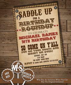 Western invite | Invites | Pinterest | Cowboy birthday and Birthdays