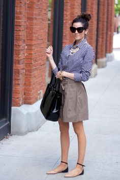 a tan skirt, a blue gingham shirt, nude and black flats- mini tube skirt -- have pink and black like this-- wear with button down