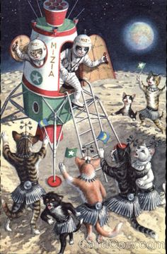 cats as astronauts on postcards | Astronaut Cats in Rocket on Crater Covered Planet Alfred Mainzer