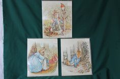 Vintage colored laser prints of Peter Rabbit escaping and in the garden and MaMa sending her babies out
