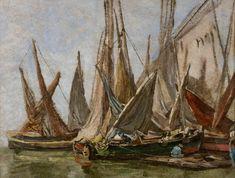 Eugène BOUDIN (1824-1898), Barques de pêche, ca. 1860-1865, huile sur bois, 23,8 x 31,3 cm. © MuMa Le Havre / Florian Kleinefenn