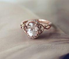 Rose gold and diamond ring Morganite Engagement, Wedding Engagement, Engagement Rings, Ring Set, Ring Verlobung, Wedding Rings Rose Gold, Wedding Bands, Gold Wedding, Dream Wedding