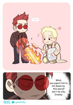 flaming sword's best way to use Good Omens Book, Terry Pratchett, Angels And Demons, Cute Gay, Crowley, Best Couple, Cute Drawings, Amazing Art, Chibi